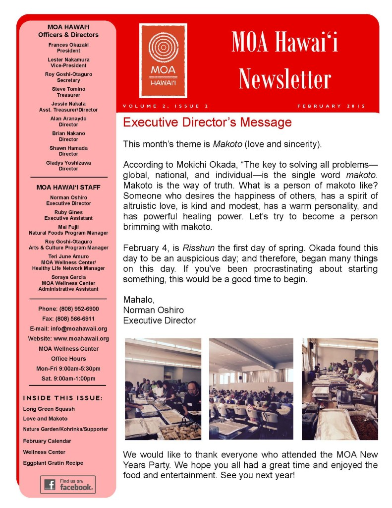 MOA Hawaii Newsletter - February 2015 Issue